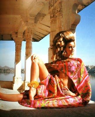 Samantha Jones is wearing an evening ensemble by Forquet. Photo Henry Clarke for Vogue 1967.