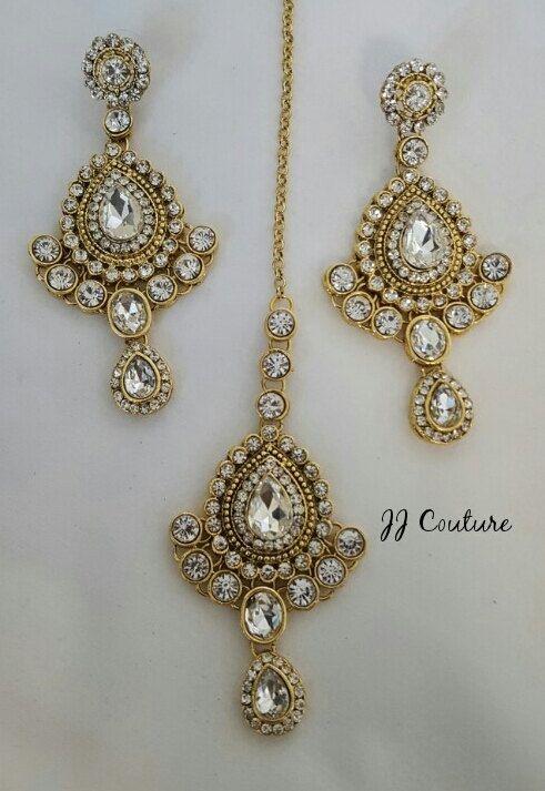 Designer Gold Kundan Earring and Tikka Set Gold by JJCOUTUREJEWELS