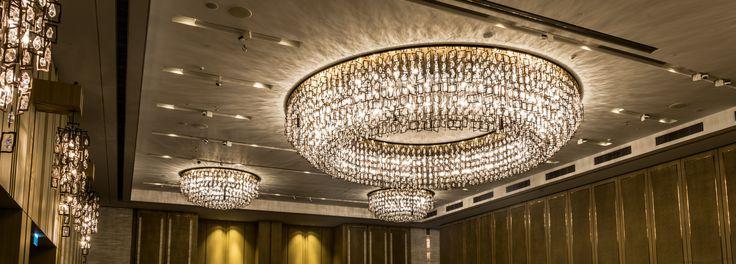 Elegant decorative design compliments the grand ballroom at Kerry Hotel, Hong Kong - manufactured by #RicardoLighting . . . #kerryhotelhk #andrefu #andrefuliving #chandelier #decorative #lighting #interiordesign
