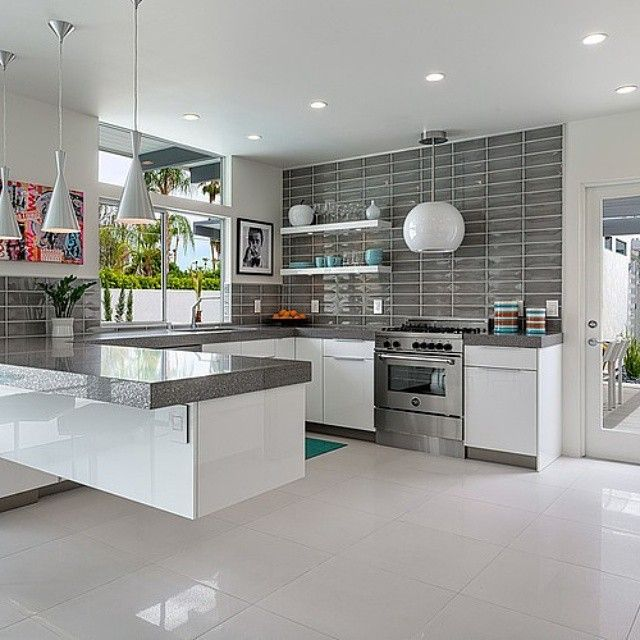 White Kitchen Grey Splashback white kitchen, grey trip and grey splashback wall tiles. very