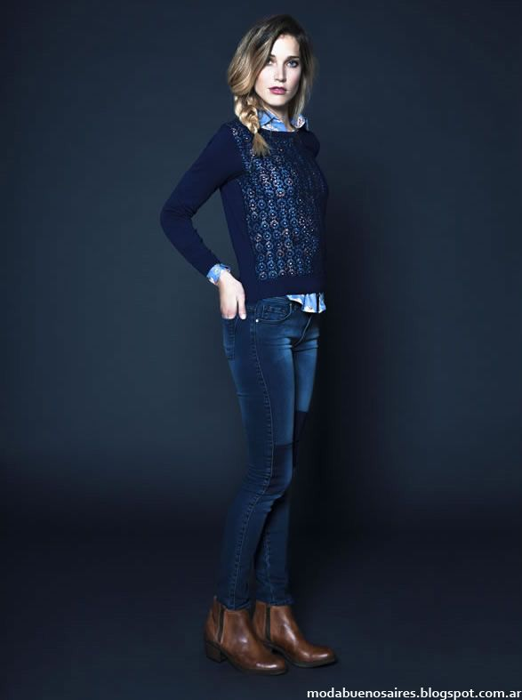 Moda invierno 2014 Kevingston Mujer. Blue sweater blue jeans brown ankle boots
