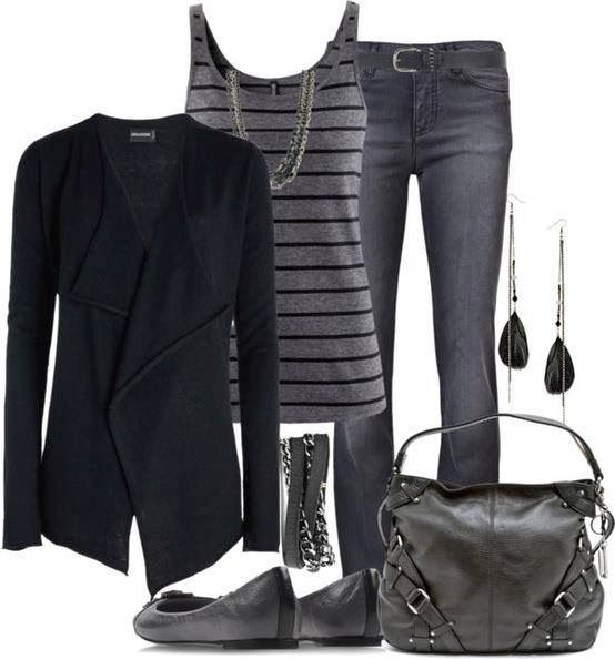 Black cardigan, grey blouse, jeans, handbag and grey shoes for fall