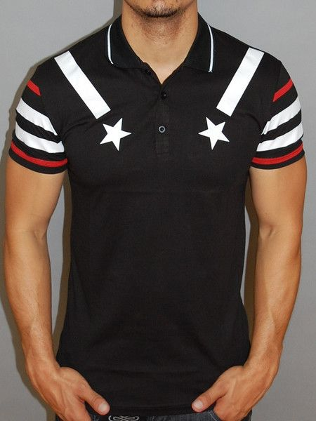 Nice slim fit / muscle fitted polo shirt. striped sleeves and stars on chest. IMPORTANT: Please use the size chart to pick the correct size for you. * FORM / BODY / MUSCLE FITTED * 100% COTTON * HIGH