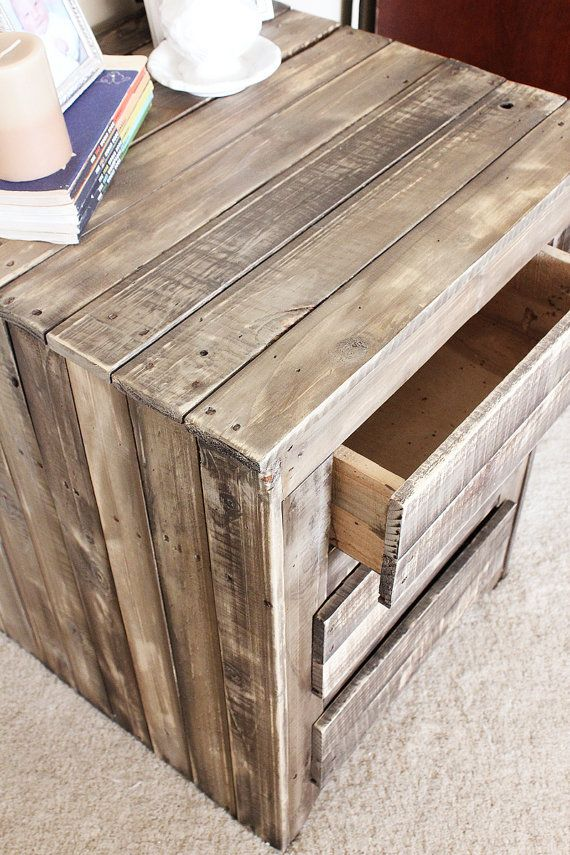 Farmhouse Custom Rustic Reclaimed Wood Night Stand 3 Drawers - Bedside Table - Upcycled Pallet Wood - Grey Weathered - Barnwood