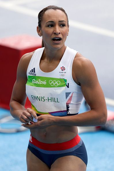 #RIO2016 Jessica Ennis-Hill of Great Britain prepares to compete in Women's Heptathlon 100 Meter Hurdles on Day 7 of the Rio 2016 Olympic Games at the Olympic...
