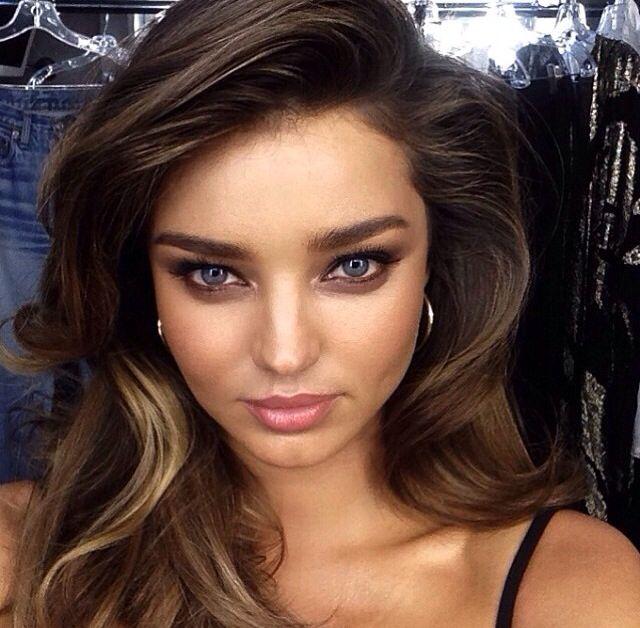 Miranda - blue eyes with brown eye shadow and nude lips