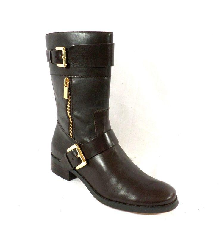 michael kors gansevoort brown chocolate leather flat boots