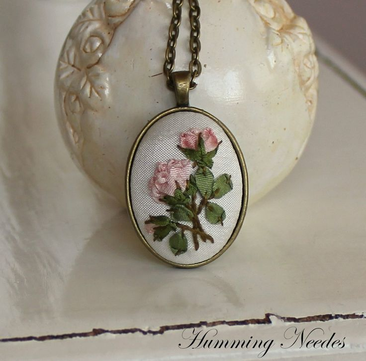 Light Pink Roses Silk Ribbon Embroidery Pendant by HummingNeedles