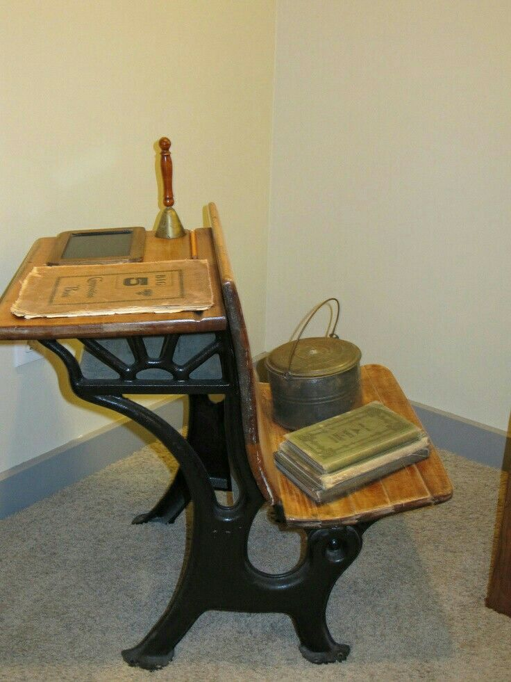 Clever way to use an antique school desk. I like that it functions as a  side table and a seat. - 40 Best Antique School Desk Images On Pinterest Antique School