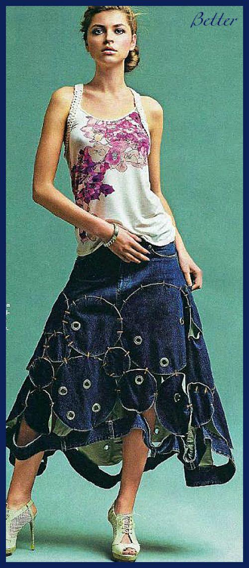 Текстильные фантазии и не только: Джинсовые юбки