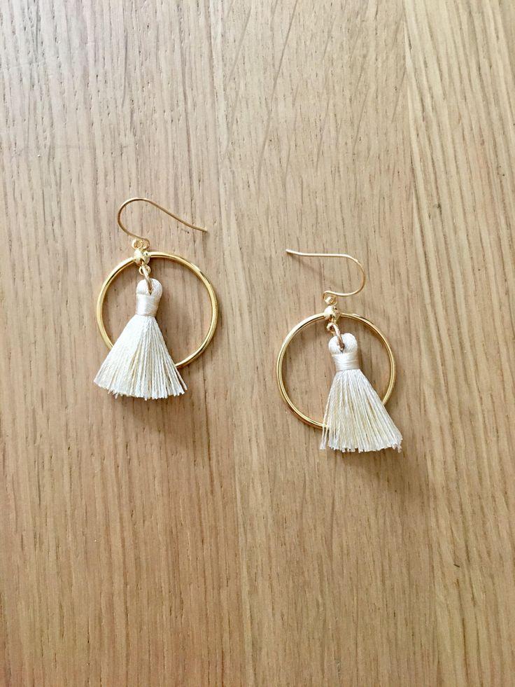 Gold Tassel Hoop Earrings    bohembeads.etsy.com