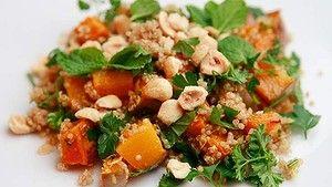 Quinoa salad with pumpkin and hazelnuts.