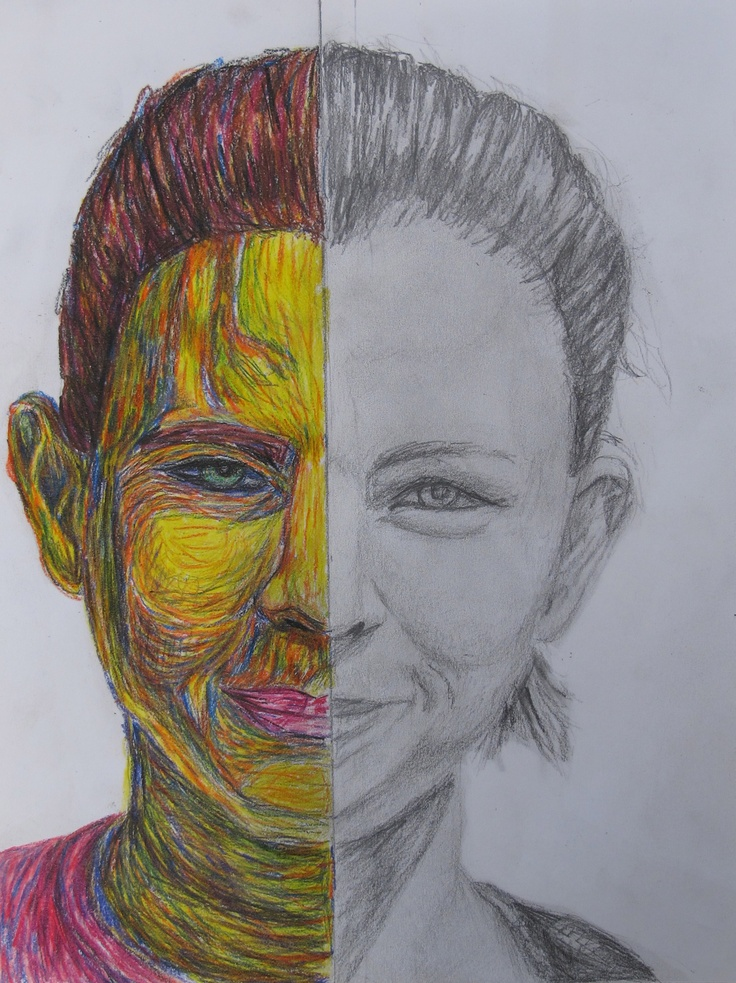 16 best oil pastel portraits images on pinterest pastel draw one half of your face in just pencil ccuart Images