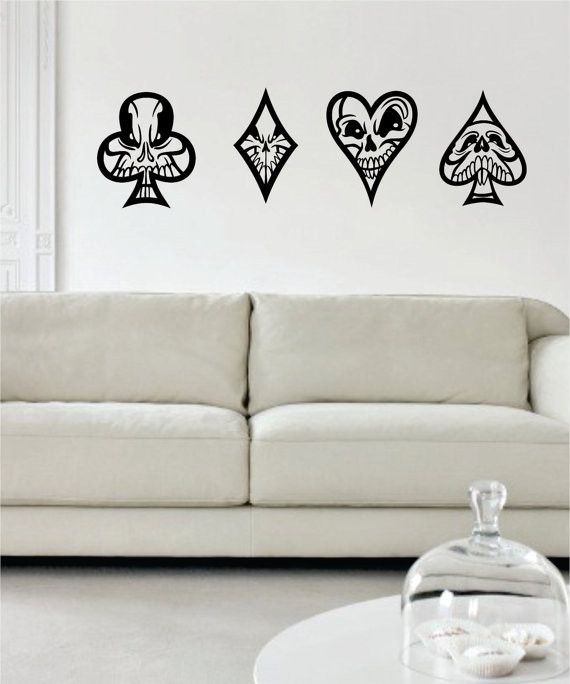 Skulls Playing Card Suits Art Decal Sticker Wall Vinyl