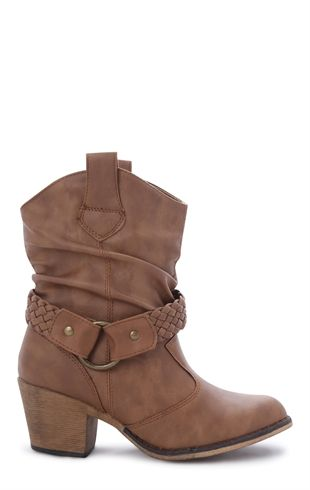 Deb Shops Short #Cowboy #Boot with Low Heel and Braided Strap $27.23