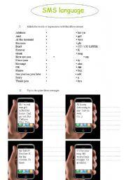 English worksheet: SMS Language