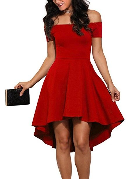 Off Shoulder High Low Skater Dress in Red - Red Christmas Party Dresses #christmaspartydress