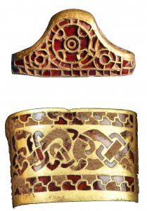 Staffordshire Hoard gold with garnet inlay - sword hilt