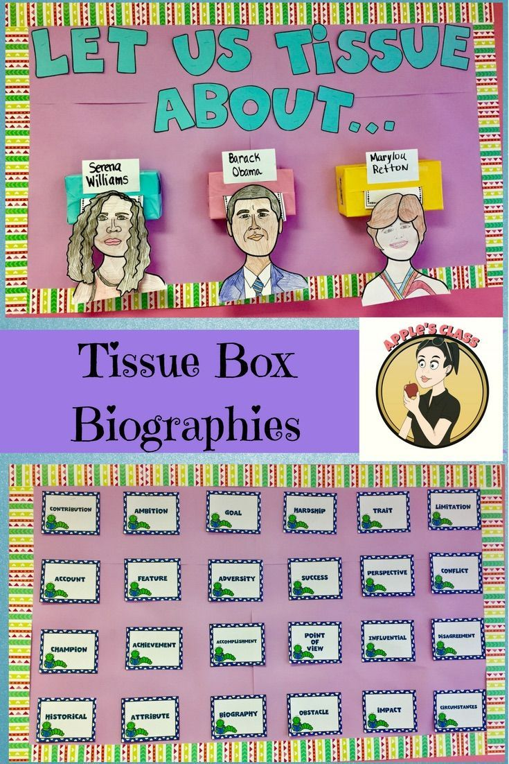Use a tissue box to create a fun biography project. Students write biography sketches using this teaching resource and then put it all together in this unique bulletin board display. This huge resource includes everything you need to teach biographies, research, anchor charts, word walls, character creator, rubric, checklists, and so much more!