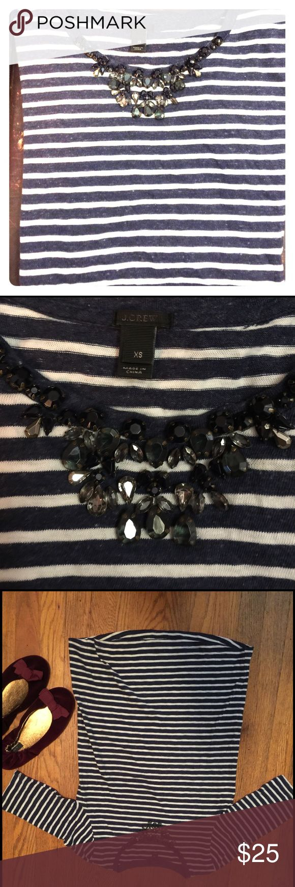 J. Crew top w/ faux jeweled necklace - stripes I ❤️ this top! J. Crew, size XS, 100% cotton. Navy & white stripes - has a nautical vibe, but with pretty faux necklace/beading around the neckline. Very soft and perfect for a day out! Pair with white jeans and ballet flats for a comfy/casual look! J. Crew Tops Blouses