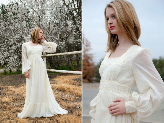 RESERVED FOR JESSICA Vintage 1960s ivory white boho wedding dress gown, empire waist, long sheer princess prairie, ruching, victorian
