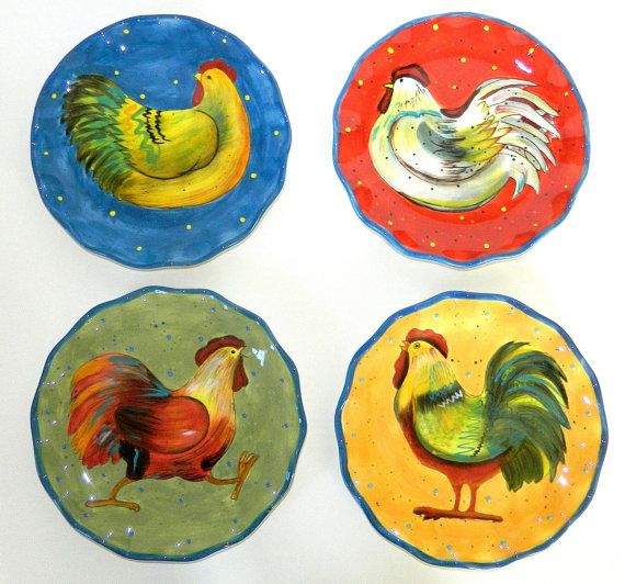 Set of 4 Painted Susan Winget Chicken and Rooster Decorative Wall Plates  sc 1 st  Pinterest & 142 best Susan Winget Dinnerware images on Pinterest | Cutlery ...