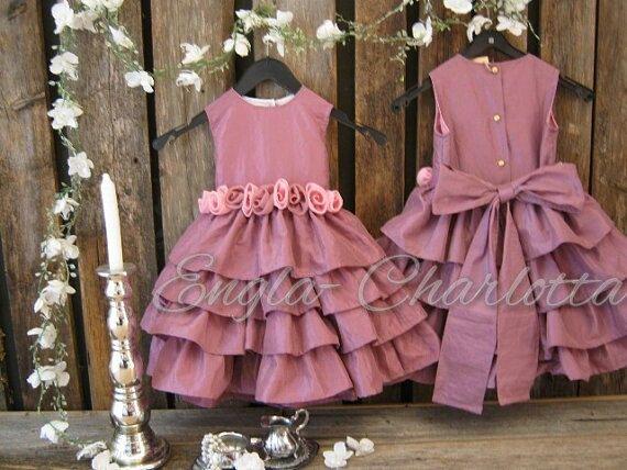 Dusty rose flower girl dress. Toddler girls by englaCharlottaShop, €49.00