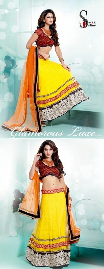 $100.00 Add grace with this yellow net designer lehenga with light orange dupatta.   http://www.sareeonline.com/proj/gallery/fullview.aspx?scode=rhl316