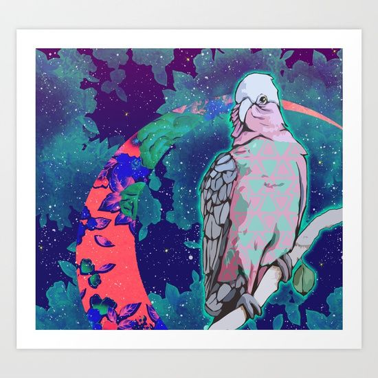 Cosmic Cockatoo Giclée art print by Kerise Delcoure. This illustration depicts an Australian pink & grey galah perched on a tree branch against a dreamy night sky filled with stars, glowing leaves & cosmic floral patterns. The artwork was created with acrylic paint, paper collage & digital rendering. Available at https://society6.com/kerisedelcoure and https://www.redbubble.com/people/kerisedelcoure.