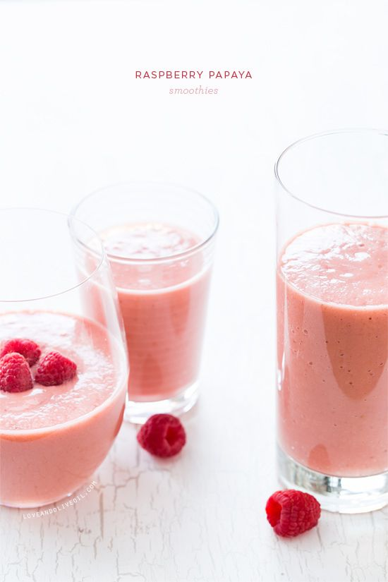 Mix up your smoothie routine with these delicious Raspberry Papaya Smoothies, made with almond milk and a splash of lime.