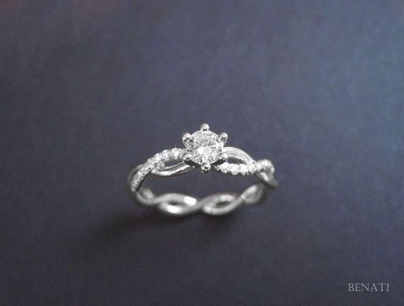 Valentine's Special Diamond Infinity Love Engagement Ring - 14k White Gold & Diamonds, Braided Rope Diamond Ring, Infinity Ring