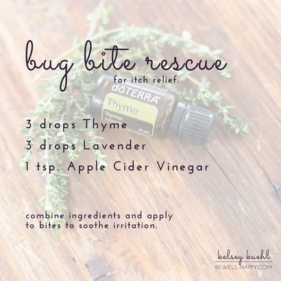 Bug Bite Relief. Mosquito bite remedy. Tick bite relief. Safe for humans of all ages and dogs. Use dōTERRA Thyme and Lavender essential oil with Apple Cider Vinegar to soothe and calm bug bites from itching and swelling.