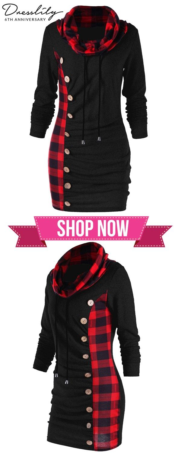 ff2ebff2e2e Plaid Drawstring Cowl Neck Tunic Sweatshirt Dress.  dresslily  sweatshirt   dresses