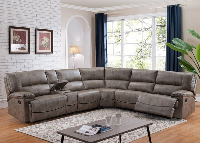 6 Pc Donovan Collection Taupe Leather Like Fabric Upholstered Sectional Sofa With Power Recliners Stylish Living RoomsLiving Room