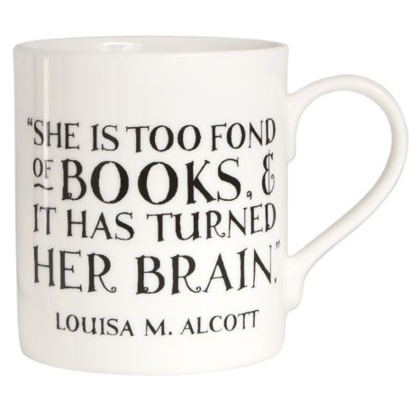 """She is too fond of books..."" Mug Description: too fond of books? Of course we are! The perfect quotation for female book lovers printed on a perfectly designed mug. Details: bone china. Quotation appears on both sides of the mug. Free UK delivery if you spend over £30. Pin It Our Price: £9.95"