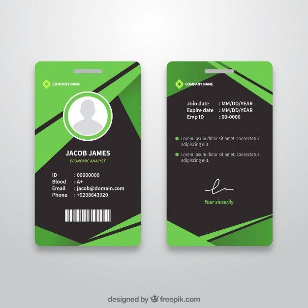 Baixe Modelo De Cartao De Identificacao Abstrata Com Design Plano Gratuitamente Id Card Template Employee Id Card Card Templates Free