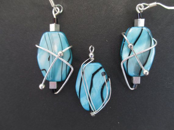 Silver wire wrapped turquoise & black earrings with by Lexana2, $20.00