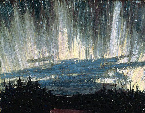 Stunning kinetic impressionism... Northern Lights by Tom Thomson of the Group of Seven, 1915(?)