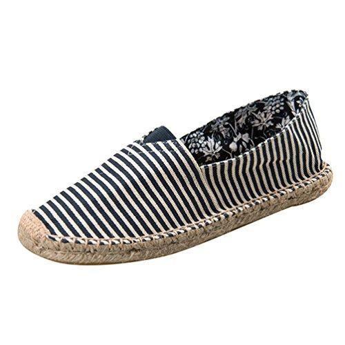 Oferta: 12.79€. Comprar Ofertas de YOUJIA Hombre Mujer Rayas Alpargatas Plano Slip-On Canvas Casual Zapatos de Verano (#1 Azul, EU 38) barato. ¡Mira las ofertas!