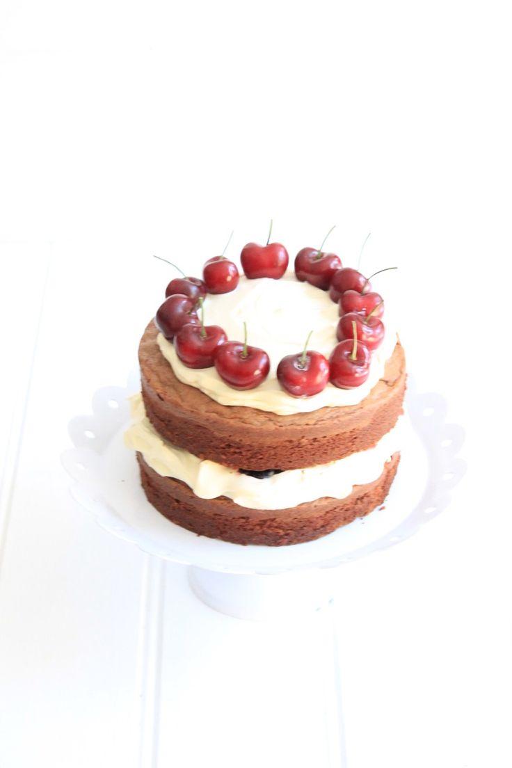 Chocolate Buttermilk Cake with Cherries and Mascarpone Cream