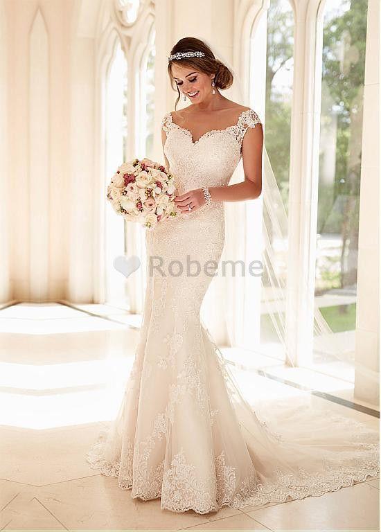 Robe de mariée sirène manche courte tulle dentelle perle de col en v