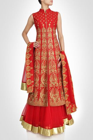 Red color Long Jacket lehenga available online – Panache Haute Couture http://panachehautecouture.co.in/collections/lehenga-choli-online-shopping/products/stunning-red-color-lehenga