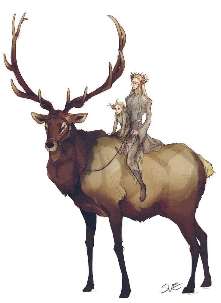 """""""Thranduil, Legolas, and their Elk."""" cute"""