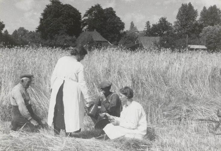 Schafttijd tijdens de roggeoogst. De vrouwen zijn gekleed in speciale oogstdracht: de 'Sint-Joapiksdracht'. 1940-1945 #Overijssel #Twente #Saksen
