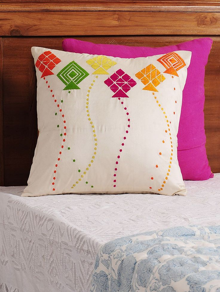 Buy Cream Multi Color Kite Phulkari Embroidered Silk Cushion Cover 16in X Home Textiles Cushions Play of Colors Hand Clutches and Covers Online at Jaypore.com