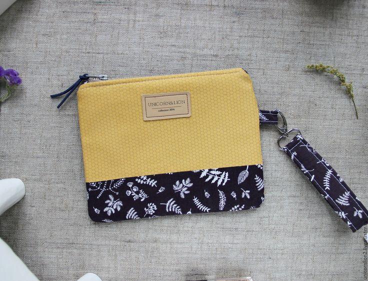 """Купить Клатч кошелек """"Мед и сирень"""" чехол для телефона - желтый, цветочный, клатч ручной работы"""