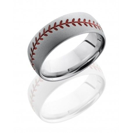 Lashbrook Design's Cobalt Chrome Ring features baseball stitch design with Bead Blast Finish