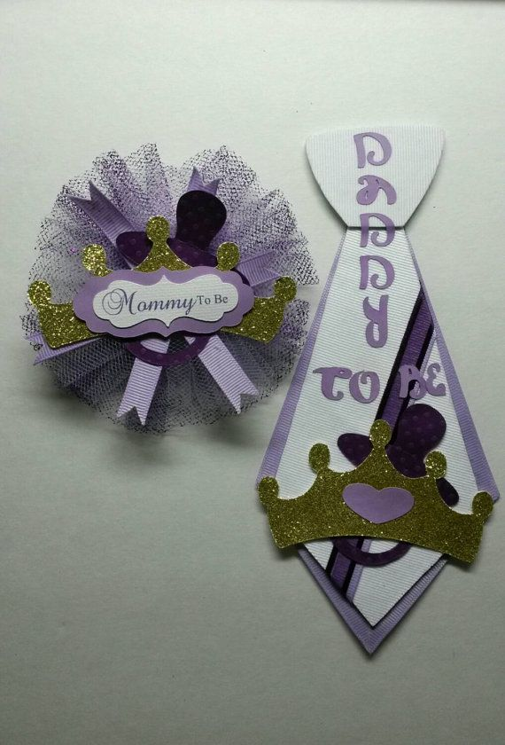 SET Mommy To Be Corsage Daddy To Be Tie Pin By FourDOLLYSboutique ·  Princess Baby ShowersGold ...