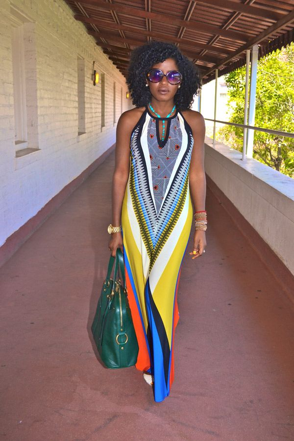 yellow aztec print maxi dress = love.  from StylePantry.Com