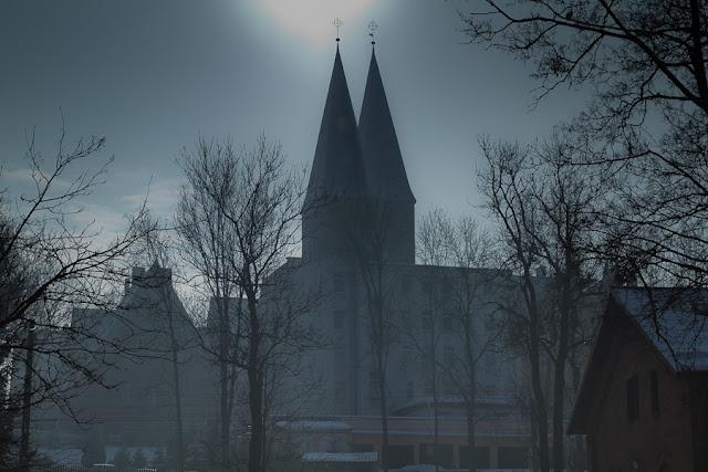 Double-helmet tower church, Ostroda, Poland